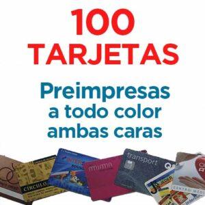 100 TARJETAS PVC IMPRESAS COLOR A DOS CARAS