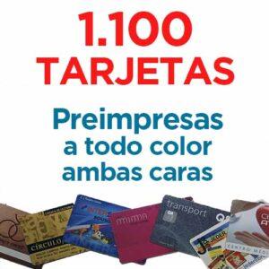 1100 TARJETAS PVC IMPRESAS COLOR A DOS CARAS