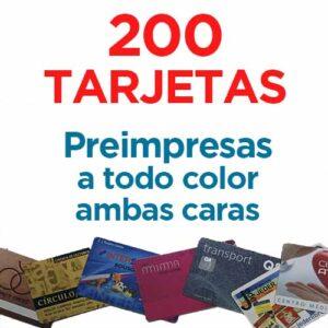 200 TARJETAS PVC IMPRESAS COLOR A DOS CARAS