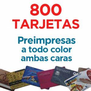 800 TARJETAS PVC IMPRESAS COLOR A DOS CARAS